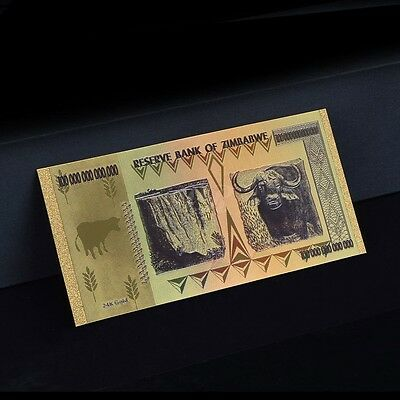 Zimbabwe 100 Trillion Dollars Banknote Gold Plated Pure 24K Gold Coloured 3