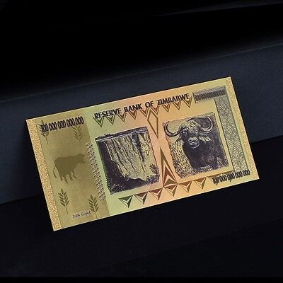 Zimbabwe 100 Trillion Gold Banknote Plated Pure 24K Gold & Coloured (ZM1CLR) 3