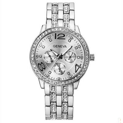 Fashion Women's Bracelet Stainless Steel Crystal Analog Quartz Dial Wrist Watch 8