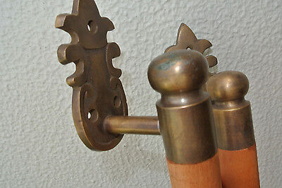 """pair DOOR handle pull solid brass ends wooden old vintage asian style 13"""" raw B 5"""