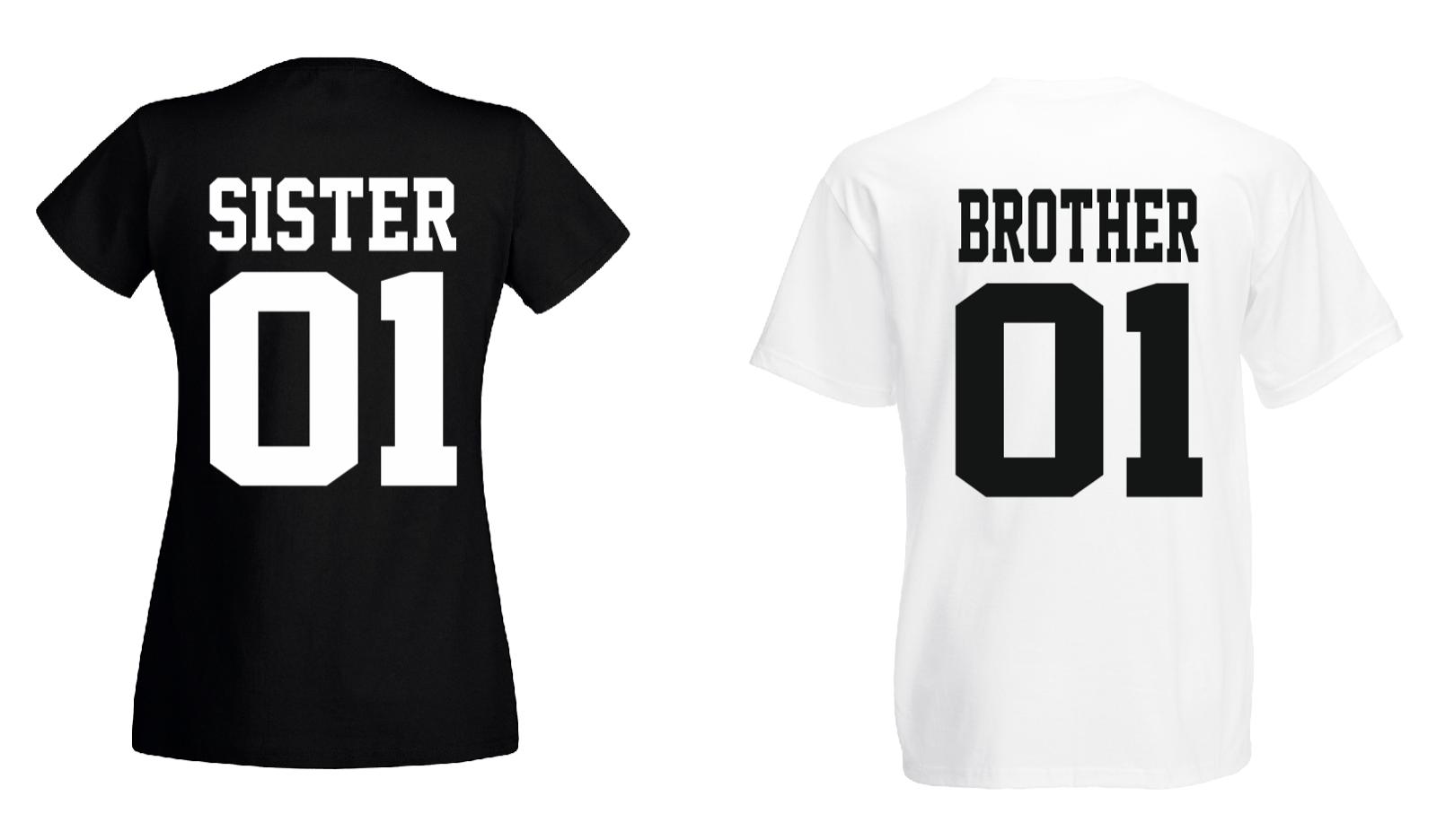 Brother & Sister - T Shirt Set - Geschwister Beste Freunde Bruder - DOPPELPACK - 2