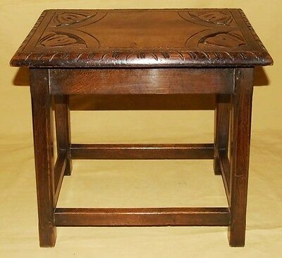 Antique Carved Solid Oak Joint Stool / Occasional Table / Lamp Stand (8) 5