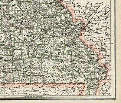 c1900 George Cram Missouri (Original Antique Lithograph Printed Outline Color) 4