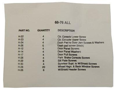1978-1982 Chevrolet Corvette C3 Interior Screw Set Kit 83 Pieces New