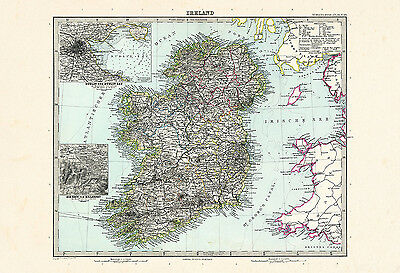 Print Map Of Ireland.Ireland Map Print Antique Wall Art Vintage Map Of Ireland Irish Map Print Ma