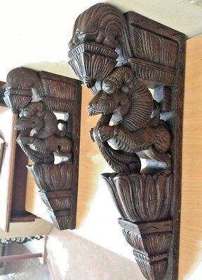 Wall Bracket Corbel Pair Hindu Temple Yalli Architectural Dragon Sculpture Art 5