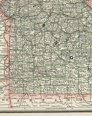 c1900 George Cram Missouri (Original Antique Lithograph Printed Outline Color) 2