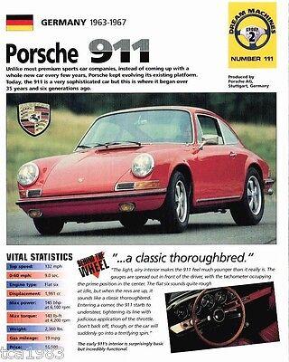 1963 1967 Porsche 911 Spec Sheet Brochure Prospekt 1964 1965 1966