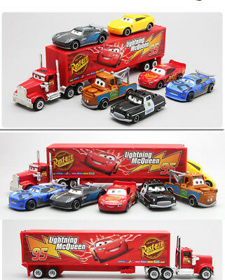 Cars 2 Lightning McQueen Racer Car&Mack Truck Kids Toy Collection Set Gifts 7PCS 3