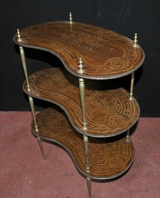 Pair Antique French Empire Shelf Unit Bookcase Kidney Bean Tier 4
