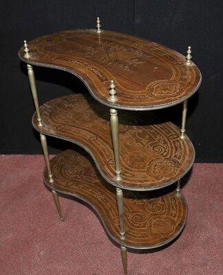 Pair Antique French Empire Shelf Unit Bookcase Kidney Bean Tier 4