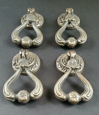 "4 Ornate Brass Antique Style Handles Pulls Knob w Detailed Drop Ring 2 1/4"" #H11 3"