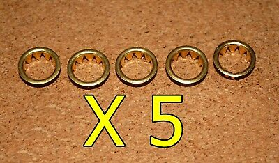 5 BRASS CLOCK FACE / KEYHOLE  GROMMETS FOR 10mm HOLE. FREE POSTAGE. BARGAIN!!