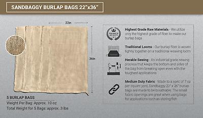 5 Burlap Sacks- Potato Sack Race Bags, Sandbags, Gunny Sack 22x36, Fish Bag 2