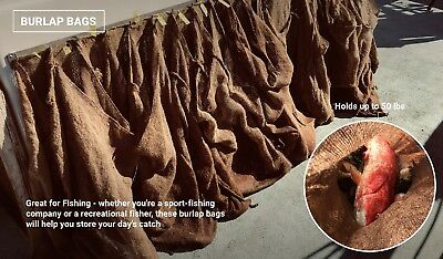 5 Burlap Sacks- Potato Sack Race Bags, Sandbags, Gunny Sack 22x36, Fish Bag 8