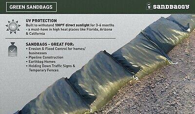 Sandbaggy 10 Green Empty Sandbags For Sale 14x26 Sandbag Sand Bags Bag Poly 5