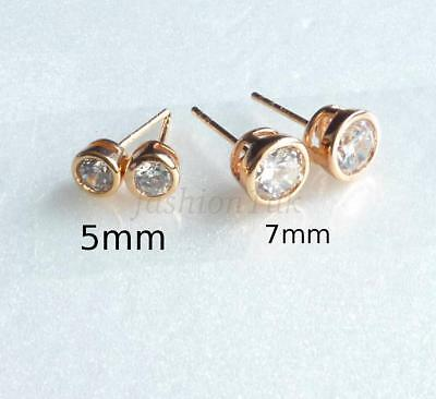 4 Of 9 Men Women Round Stud Earrings 18k Gold Plated Simulated Diamond 5 6 7 10mm Uk