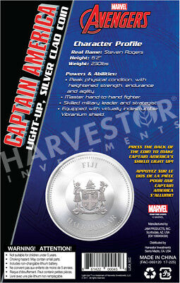 2017 Marvel Light-Up Coin Series - Captain America - Fiji - Third In Series