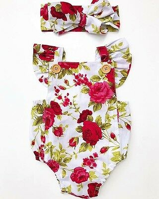 AU Newborn Baby Girl Clothes Flower Jumpsuit Romper Bodysuit Headband Outfit Set