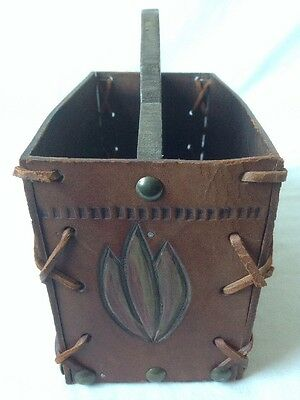 Vintage Peruvian Tooled Leather Desk Caddy Organizer Hand Painted W Wood Handle