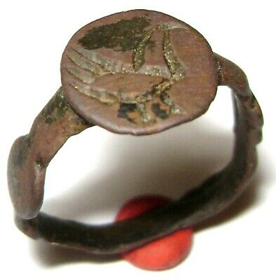 Ancient Rare Medieval bronze finger ring seal with Sacred Bird on Bezel 2