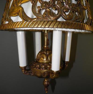 Antique Deco Spanish Egyptian Revival Figural Dragons Chandelier Light Fixture 3