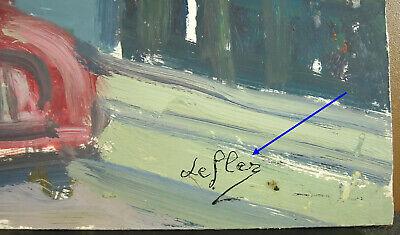 Lefler Dibujo Original Firmado c1970 Óleo sobre Papel Escena de Downtown & 3