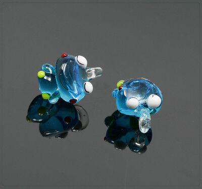 1x Lampwork Glas Anhänger Charm Nachtleuchtend Basteln DIY Hase Tier 14x23mm
