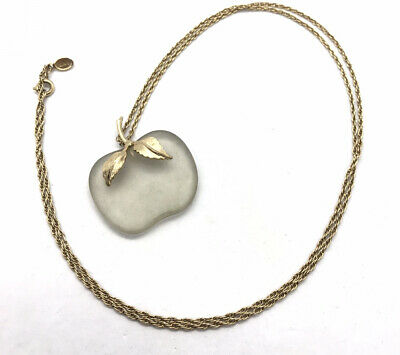 Vintage Pendant Gold Toned With Frosted White Glass Apple Used