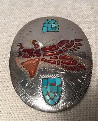 Johnson Held Vintage Hand Made Denver Colorado Silver Tone Turquoise Belt Buckle 2