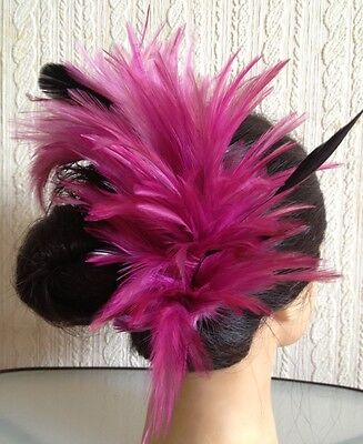 plum pink purple feather comb fascinator millinery wedding hat hair piece ascot 2