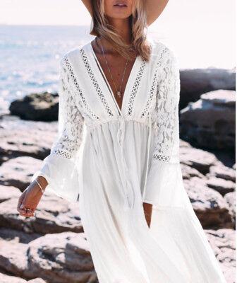 pretty nice a375b 15004 VESTITO LUNGO DONNA Caftano Copricostume Woman Maxi Dress Cover Up COV0052