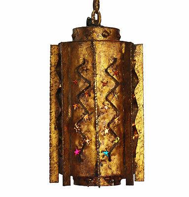Antique Moroccan Gilt Metal Hanging Lantern Light Boho Chic Vintage 3