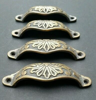 """4  Apothecary Drawer Cup Bin Pull Handles 4 1/8"""" Antique Vict. Style Brass #A1 5"""