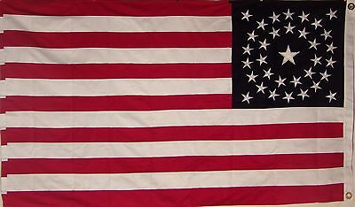 HEAVY COTTON 34 STAR AMERICAN FLAG  embroidered & sewn - HISTORICAL USA 4