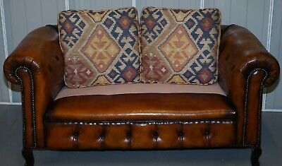 1 Of 2 Restored Victorian Gentleman's Club Chesterfield Leather Sofas Kilim Seat 12
