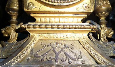 Beautiful Fireplace Clock Pendule Brass Bronze Fire-Gilded Antique Baroque 4