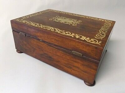 Antique Regency Rosewood Sewing Box. Brass Inlays. Original. Genuine. 6