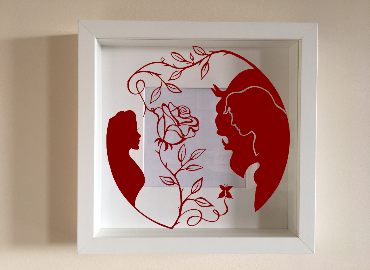 IKEA RIBBA Box Frame Personalised Vinyl Wall Art Quote Beauty and the Beast Ent
