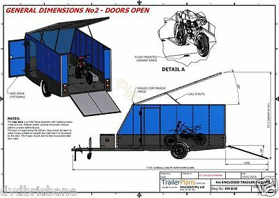 Trailer Plans - 4m ENCLOSED MOTORBIKE TRAILER - PLANS ON CD-ROM 11