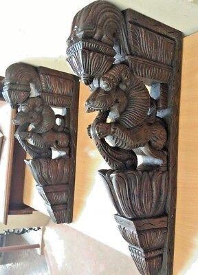 Wall Bracket Corbel Pair Hindu Temple Yalli Architectural Dragon Sculpture Art 3