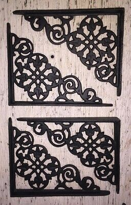 SET OF 4 VICTORIAN FLORAL PATTERN BRACKETS Antique Styled cast iron braces BLACK 2