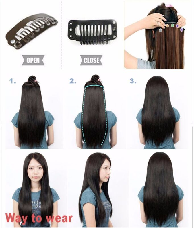 One Piece 100 Remy Clip In Human Hair Extensions 34 Full Head Weft