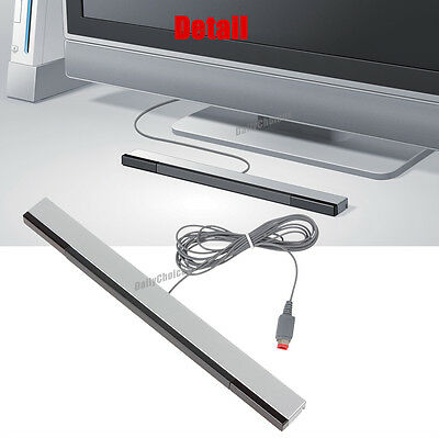 Wired Infrared Ray Sensor Bar/Receiver for Nintendo Wii U Black with Silver AU 11