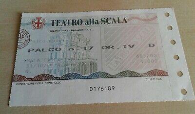 """Biglietto Palco Scala Di Milano """"Gala Per Carla Fracci"""" 31/10/1991 2"""