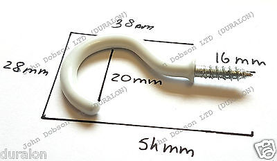 "long 2.1//4/"" 12 x white cup mug hooks screw-in white plastic coated 55mm"