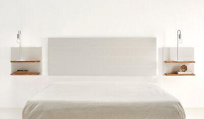 Hogar24- Cabecero blanco + 2 mesitas colgantes blancas con estantes color madera 3