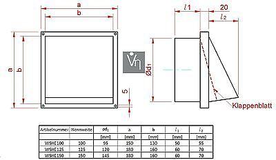 VentilationNord Ablufthaube NW150 Aussenhaube Lufthaube mit Klappe Edelstahl Dunstabzug WSHE150
