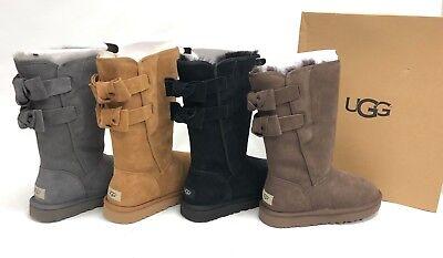 053e08044db UGG AUSTRALIA ALLEGRA Bow II Grey Chocolate Chestnut Black Boots 1102931