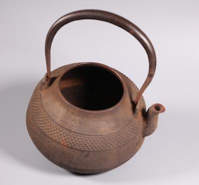Japanese Cast Iron Basket Weave Tetsubin or Teapot Lot 308